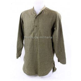 British wool collarless shirt