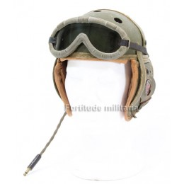 US ww2 tank helmet with receivers and goggles